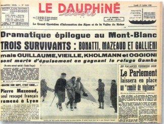 Foto 3 Naslovnica novina o tragediji na Freney Pillaru